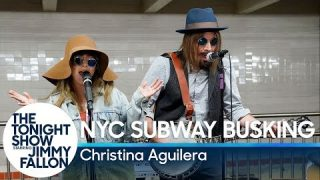 Christina Aguilera Jimmy Fallon – Busks in NYC Subway in Disguise